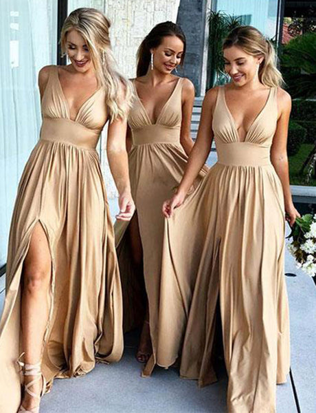 Popular A-Line Deep V-Neck Long Champagne Bridesmaid Dress with Split