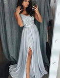 Popular V Neck Long Chiffon Sleeveless Light Grey Prom Dress with Split Appliques