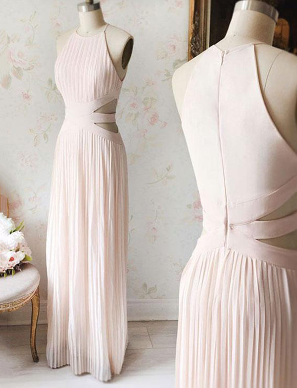 Simple A-Line Halter Long Chiffon Sleeveless Pink Prom Dress with Pleats