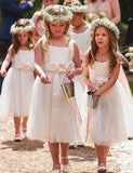 A Line Round Neck Tea Length White Tulle Flower Girl Dress with Flowers - ericprom
