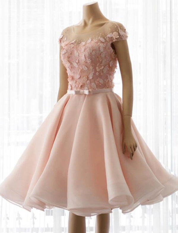 A Line Jewel Knee Length Pink Homecoming Dress with Bowknot Appliques - ericprom