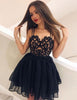 Spaghetti Straps Short Black Cocktail Dress with Appliques Homecoming Dress