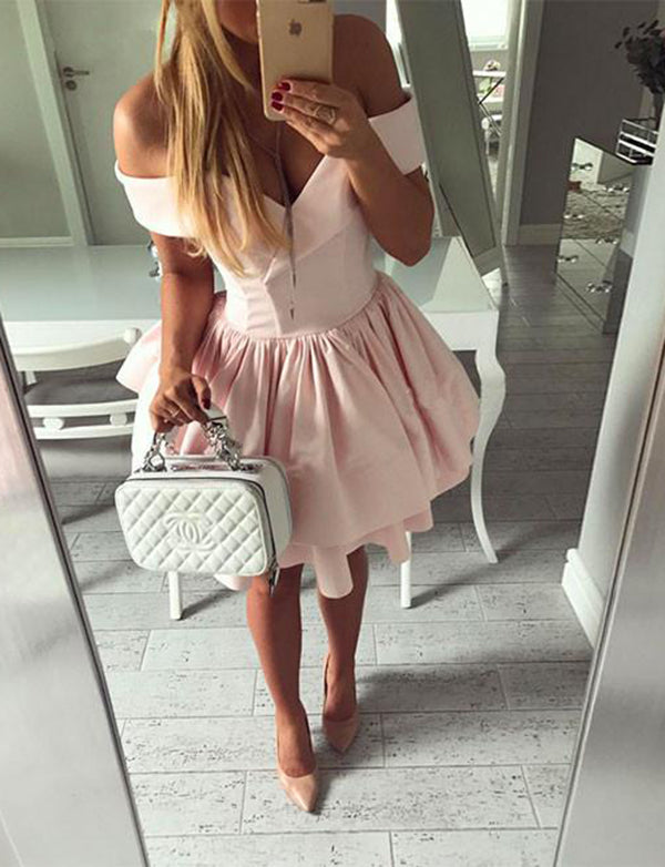 Sexy Pink Homecoming Dress with Sleeves Short Off the Shoulder Cocktail Dress - ericprom
