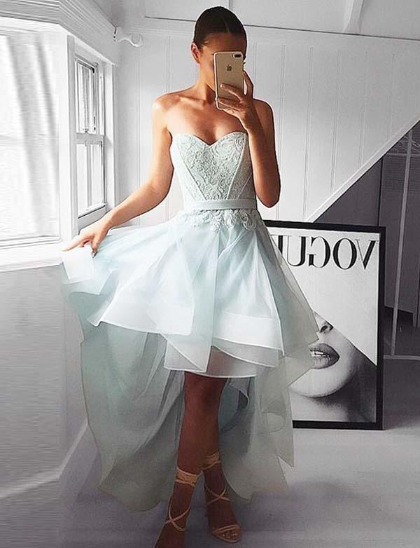 Stylish Sweetheart Homecoming Dress High Low Prom Dress with Appliques - ericprom