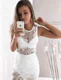 Sleeveless Short Jewel Lace Cocktail Dress Sheath White Homecoming Dress - ericprom