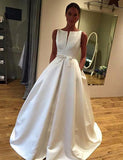 A-Line Bateau Sleeveless Satin Simple Wedding Dress with Bowknot Pockets - ericprom