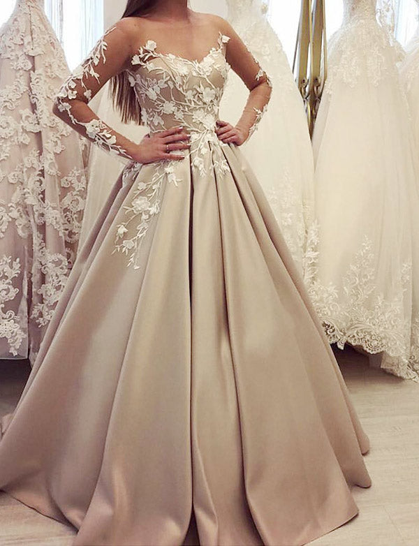 Gorgeous Bateau Champagne Prom Dress with Sleeves Appliques Evening Gown - ericprom