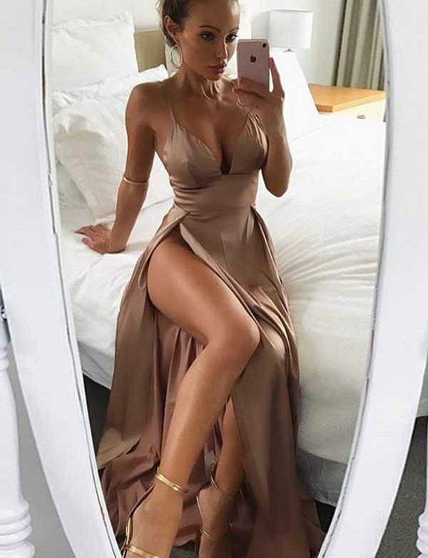 Hot Sexy Spaghetti Straps Long Satin Long Champagne Prom Dress with Split - ericprom