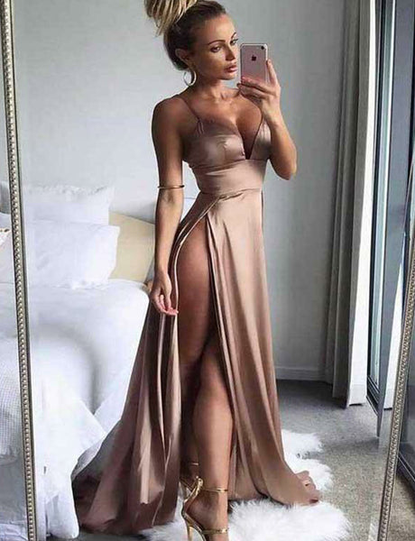 Hot Sexy Spaghetti Straps Long Satin Long Champagne Prom Dress with Split