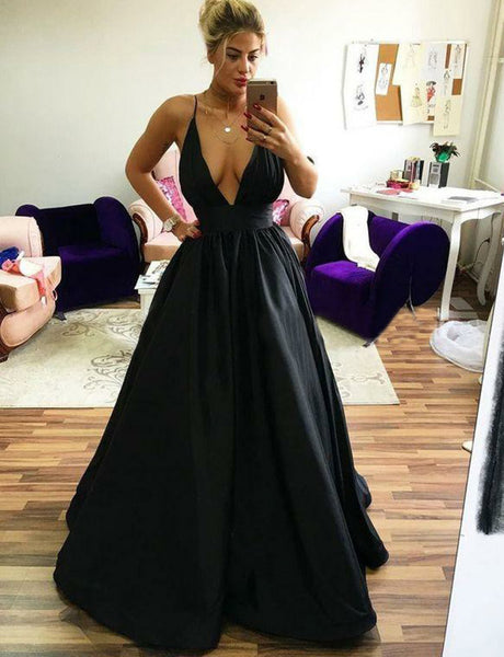 Hot Selling Amazing  A Line Spaghetti Straps Satin Sleeveless Long Black Prom Dress
