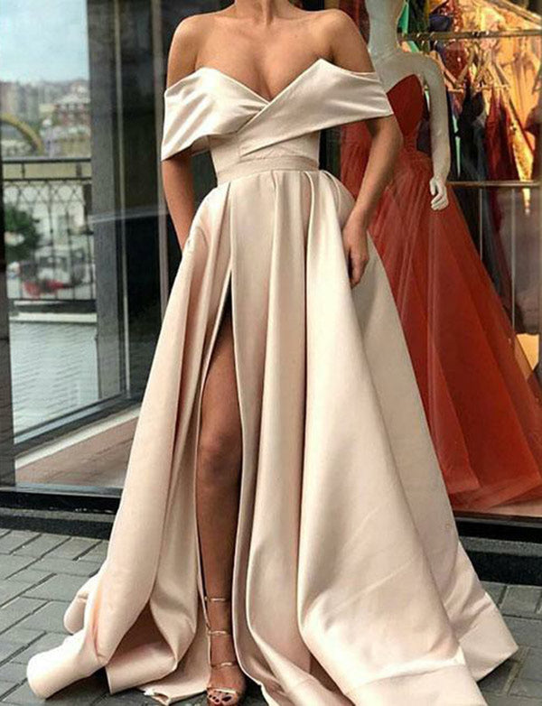 New Arrival A-Line Off the Shoulder Satin Long Champagne Prom Dresses Split - ericprom