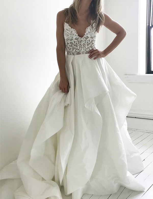 Spaghetti Straps Open Back Long Evening Gown White Prom Dress with Appliques - ericprom