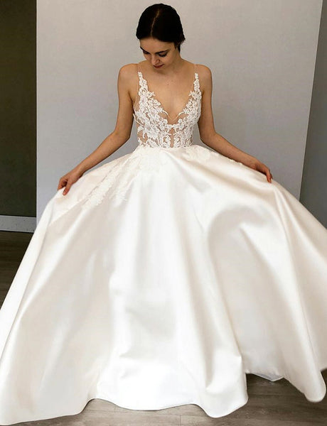 Hot Selling A-Line V Neck White Satin Simple Wedding Dress with Appliques