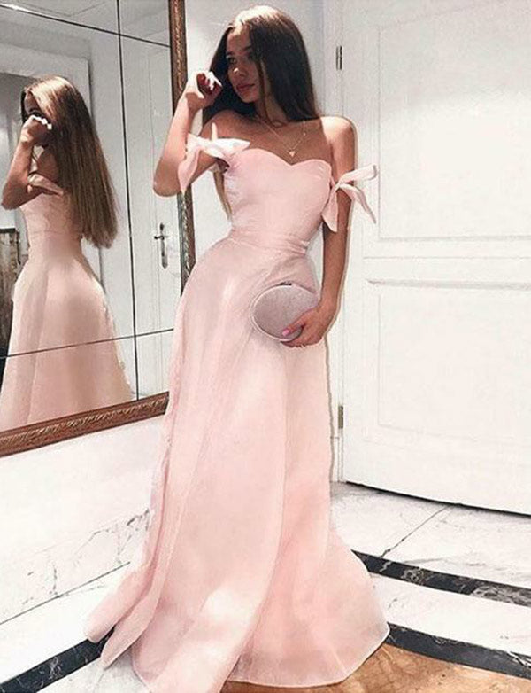 Delicate A Line Off the Shoulder Pink Prom Dress Satin Long Evening Dress - ericprom