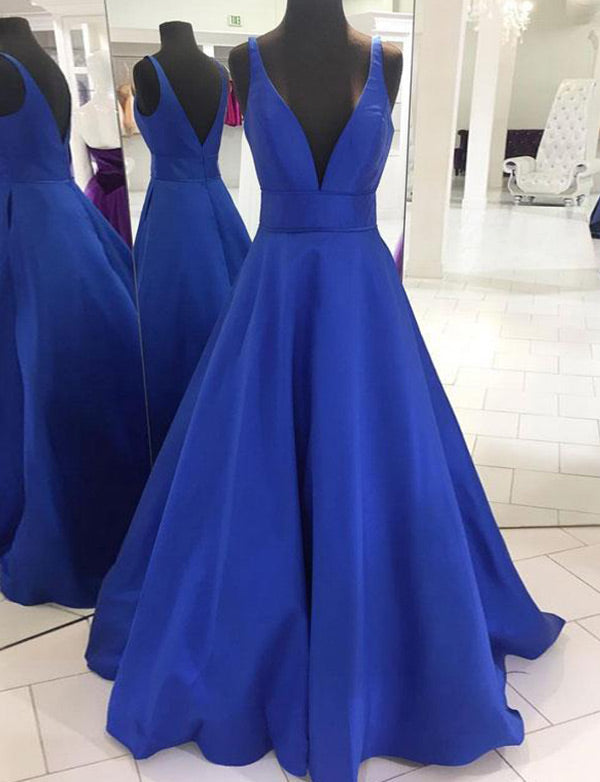 Simple Deep V Neck Royal Blue Prom Dress with Open Back Long Evening Gown - ericprom