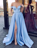 Affordable A-Line Off-the-Shoulder Sweep Train Blue Prom Dress with Split