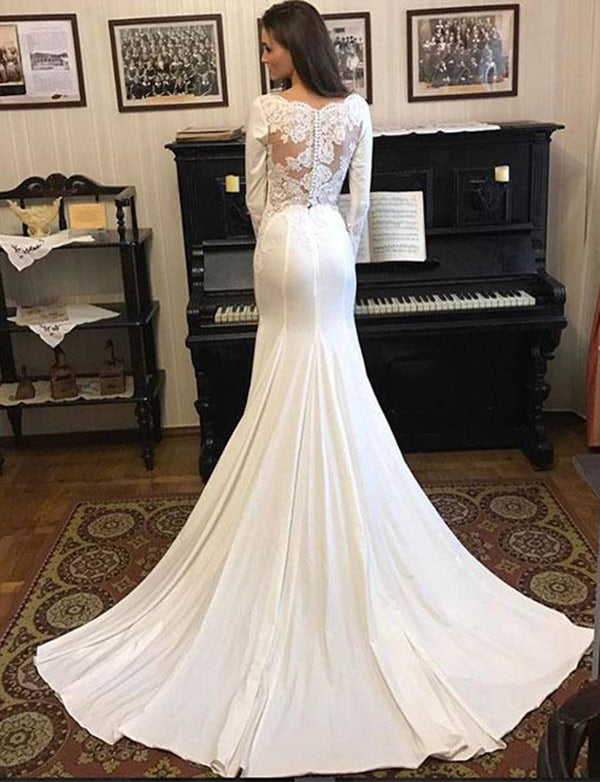 Simple Long Sleeves White Satin Court Train Mermaid Wedding Dress with Lace - ericprom