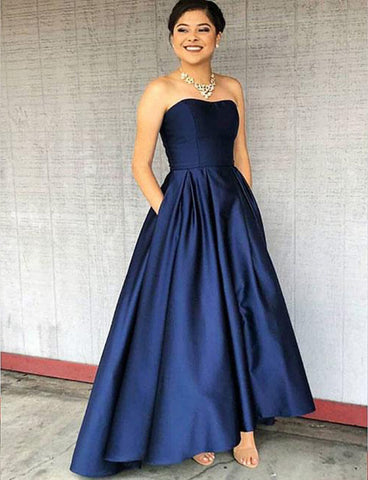 Simple Strapless Floor-Length Sleeveless Roayl Blue Prom Dress with Pockets