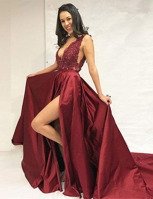 Deep V-Neck Burgundy Evening Gown with Appliques Split Long Prom Dress - ericprom