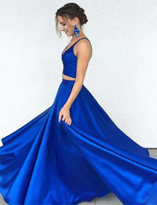 Simple Two Piece Spaghetti Straps Sleeveless Long Satin Royal Blue Prom Dress - ericprom