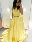 Two Piece Jewel Long Yellow Prom Dress with Pockets - ericprom