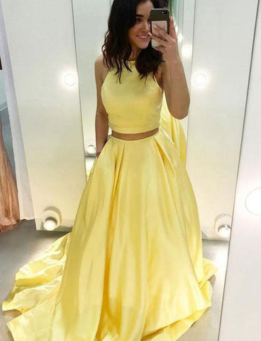 Two Piece Jewel Long Yellow Prom Dress with Pockets