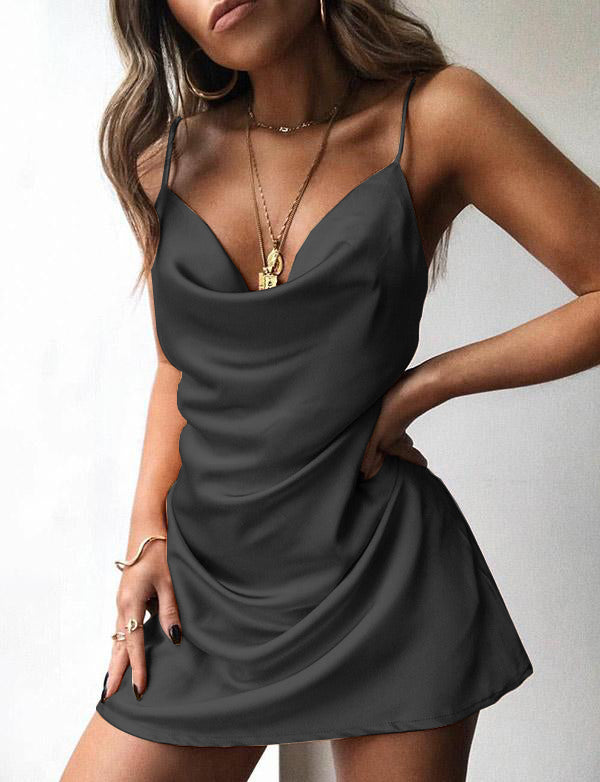 Sexy Mini Champagne Cocktail Dress Satin Spaghetti Straps Short Homecoming Dress - ericprom