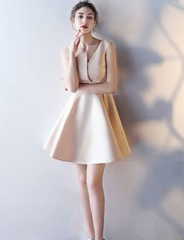 Irregular Satin Short Homecoming Dress Champagne Cocktail Dress - ericprom