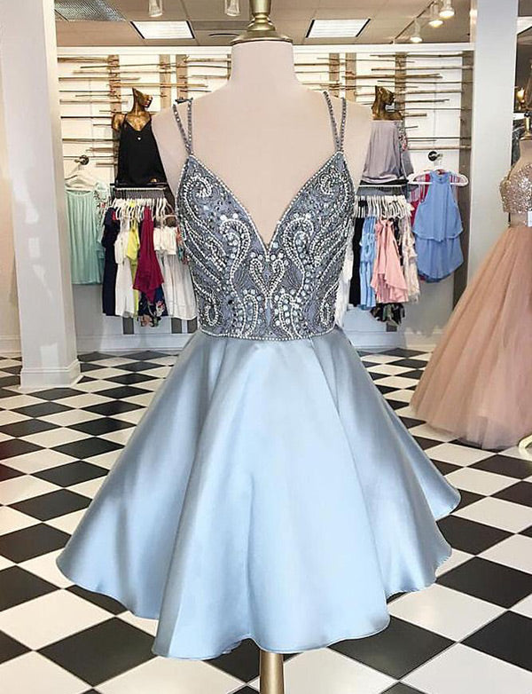 A Line Spaghetti Straps Blue Homecoming Dresses with Beading Cocktail Dress