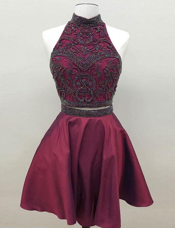 High Neck Two Piece Homecoming Dress with Beading Burgundy Cocktail Dress - ericprom
