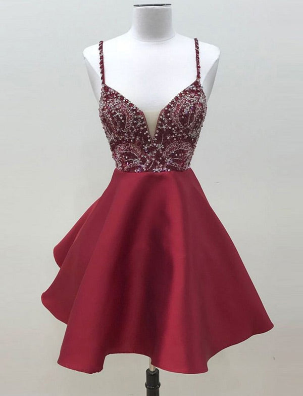 Cute Burgundy Cocktail Dress with Beading Sleeveless Short Homecoming Dress - ericprom