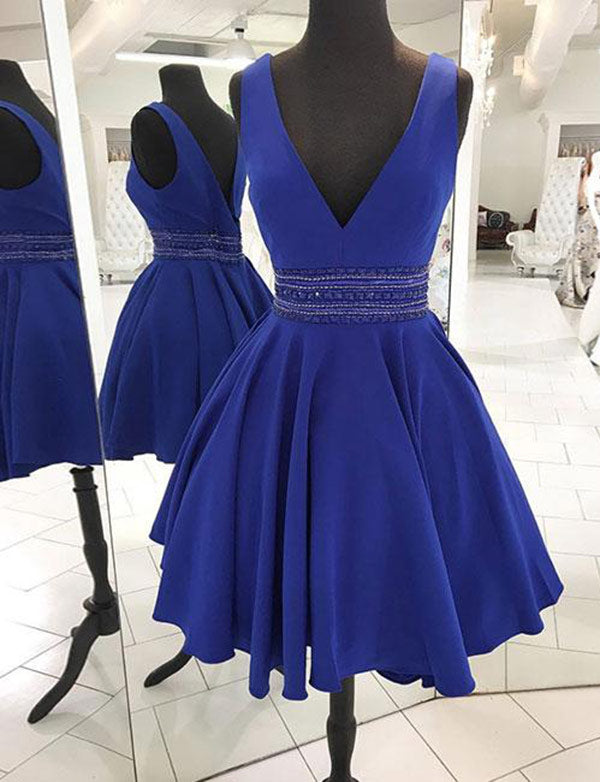 Stylish A Line V Neck Royal Blue Homecoming Dresses with Beading Cocktail Dress