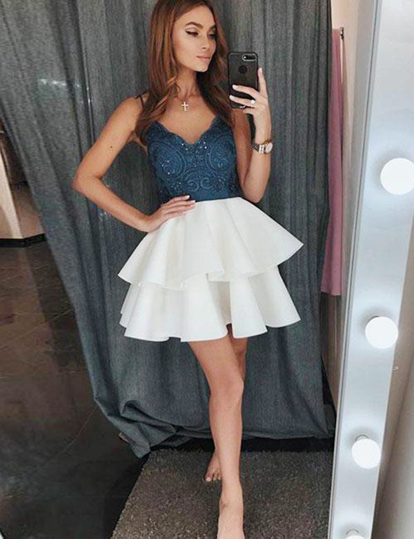Fashion Spaghetti Straps Mini Homecoming Dresses with Appliques Tiered - ericprom