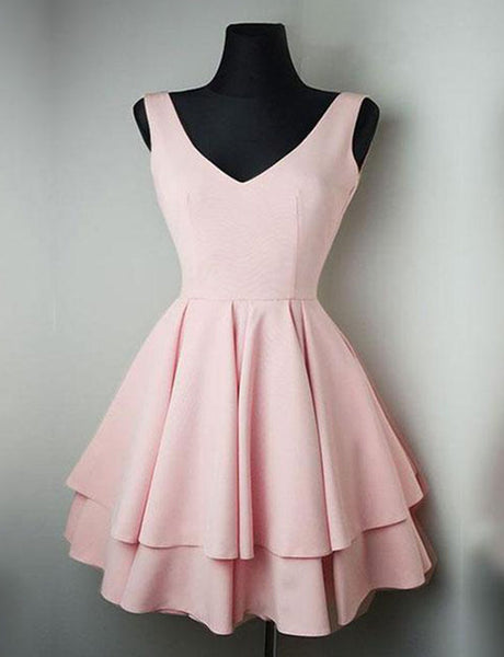 Simple A Line V Neck Pink Homecoming Dress with Tiered Short Cocktail Dress