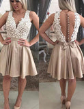 Luxurious A Line V Neck Champagne Satin Homecoming Dress with Appliques - ericprom
