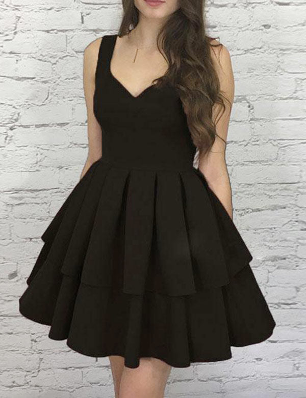 V Neck Burgundy Homecoming Dress Short Black Cocktail Dress - ericprom