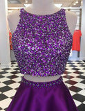 A Line Short Two Piece Homecoming Dresses with Beading Purple Cocktail Dress - ericprom