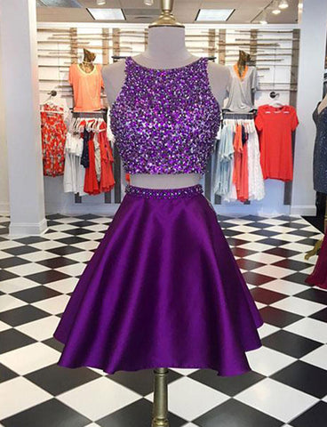 A Line Short Two Piece Homecoming Dresses with Beading Purple Cocktail Dress