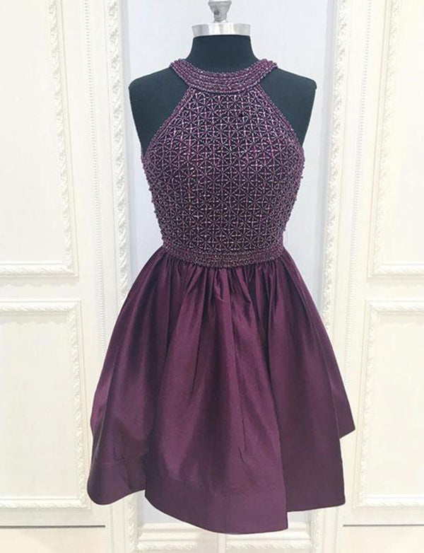 Halter Short Purple Homecoming Dress with Beading Cocktail Dress - ericprom
