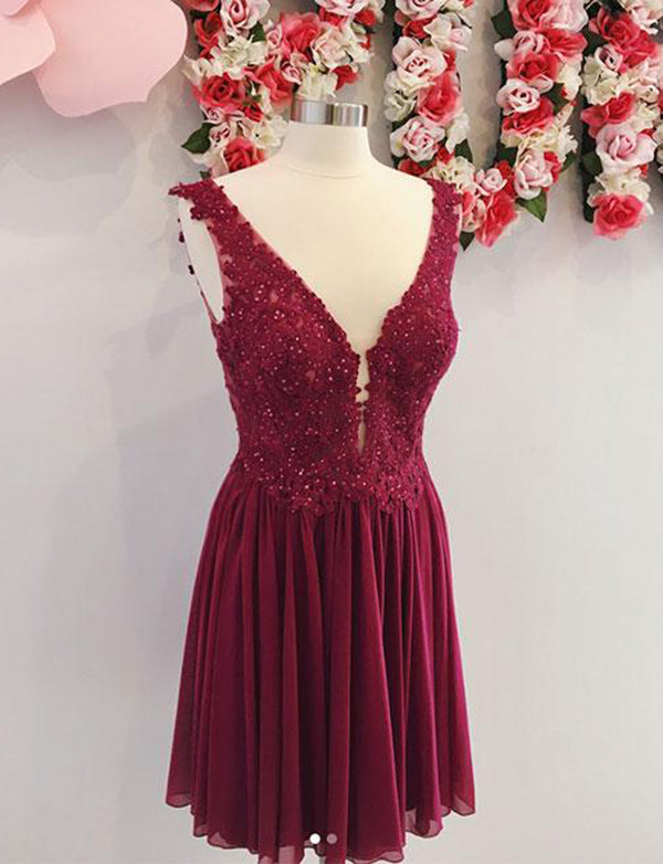Deep V Neck Burgundy Chiffon Homecoming Dress with Appliques Beading - ericprom