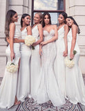 V Neck Long White Bridesmaid Dress with Split Mermaid Wedding Party Dress - ericprom