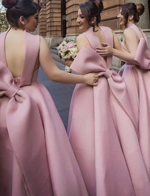 Cute A Line High Neck High Low Champagne Bridesmaid Dress with Bowknot - ericprom