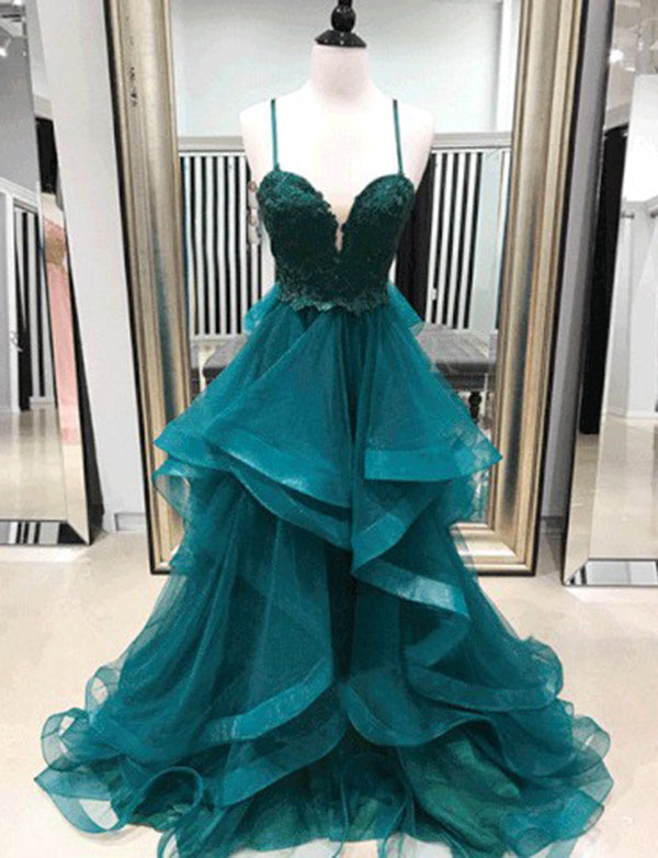 Spaghetti Straps Turquoise Evenign Dress Tulle Long Prom Dress with Appliques - ericprom