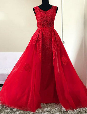 Hot Selling Perfect Jewel Long Red Prom Dress With Appliques Evening Gown