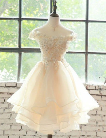 Cute Short Cap Sleeves Champagne Homecoming Dresses with Appliques