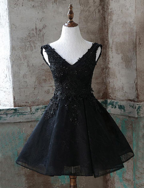 A Line Sleeveless V Neck Black Homecoming Dresses with Appliques Beading