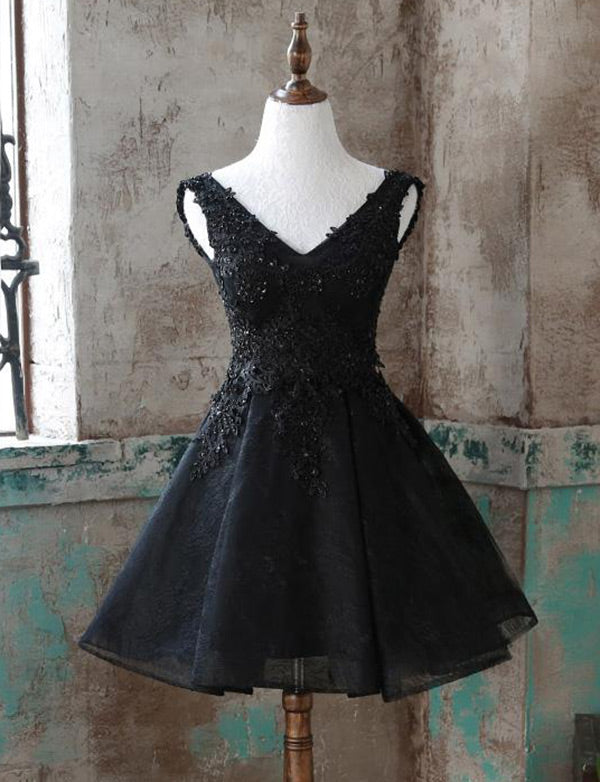 A Line Sleeveless V Neck Black Homecoming Dresses with Appliques Beading - ericprom