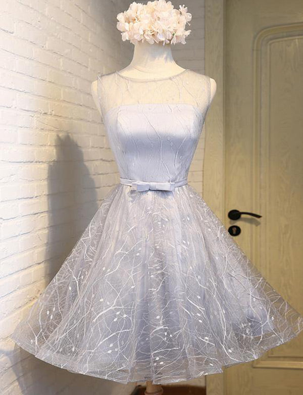 Light Blue Short Homecoming Dress with Bowknot Open Back Cocktail Dress - ericprom