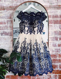 Scalloped Edge Short Homecoming Dresses with Lace Navy Blue Cocktail Dress - ericprom
