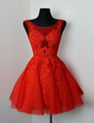 A-Line Jewel Short Homecoming Dress Red Cocktail Dress with Appliques